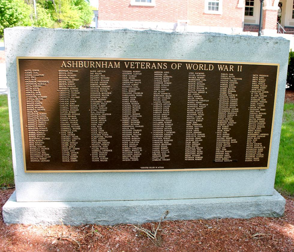 Ashburbham Massashusetts World War II Veterans Memorial