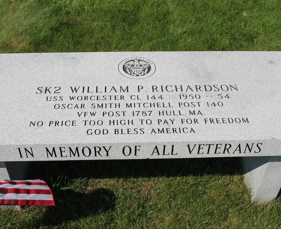 Hull Massachusetts Wiiliam P Richardson Memorial Bench