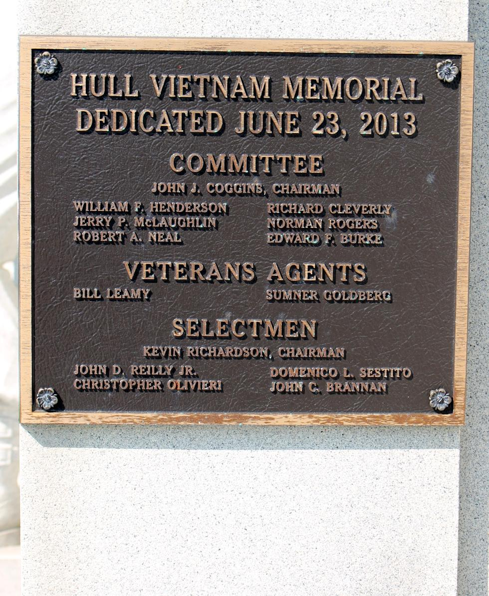 Hull Massachusetts Veterans Memorial - Vietnam War Honor Roll