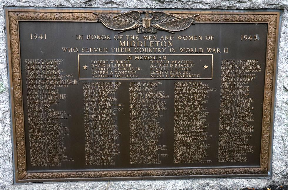 Middleton Massachusetts World War II Veterans Memorial