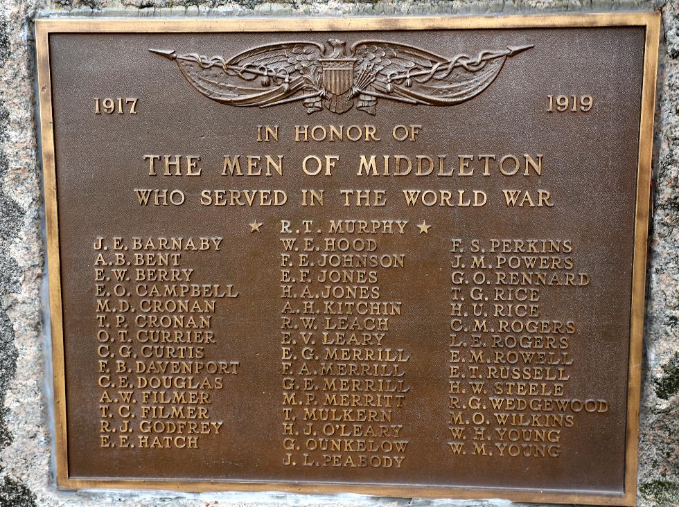 Middleton Massachusetts World War I Veterans Memorial