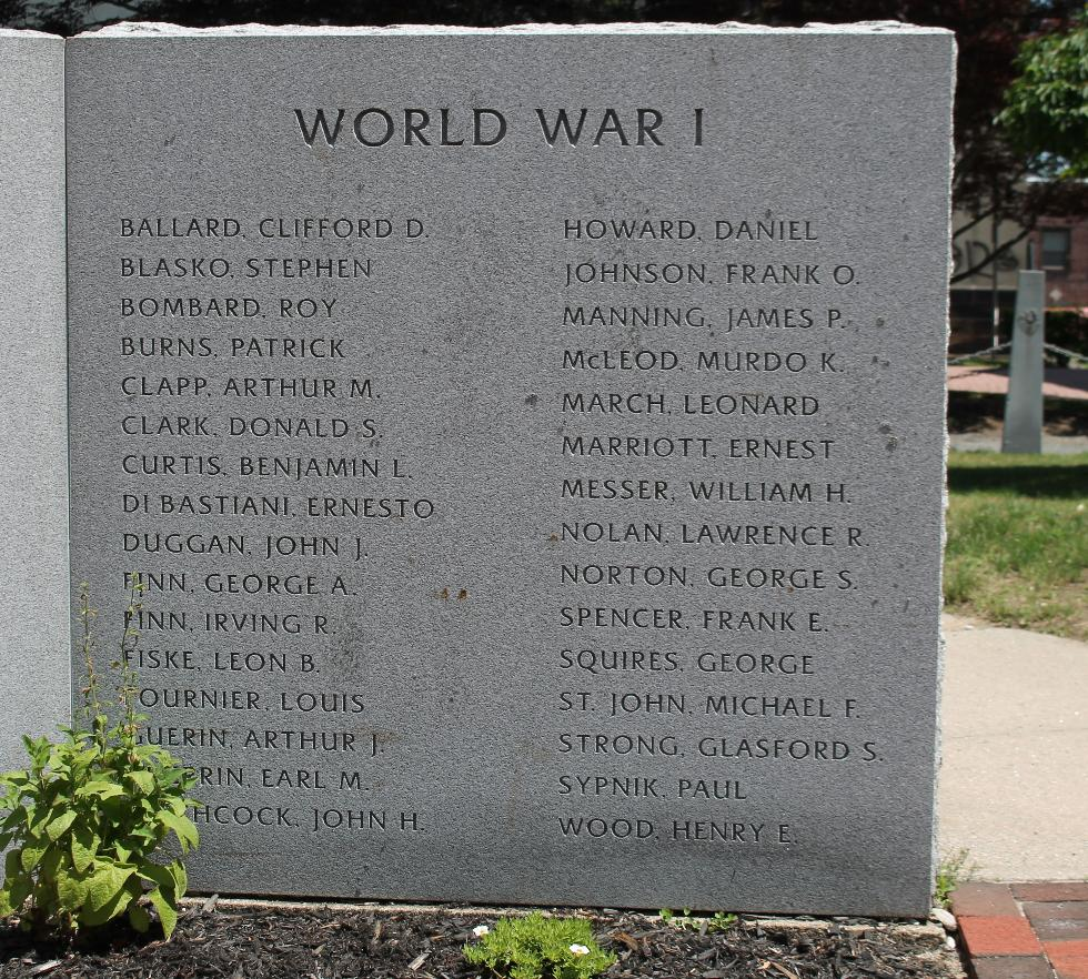 Northampton Massachusetts Veterans Memorial World War I