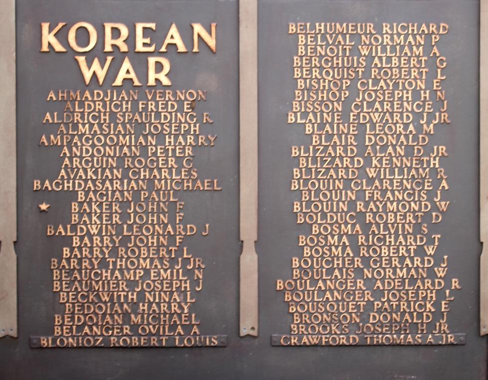 Northbridge Massachusetts Korean War Veterans Honor Roll