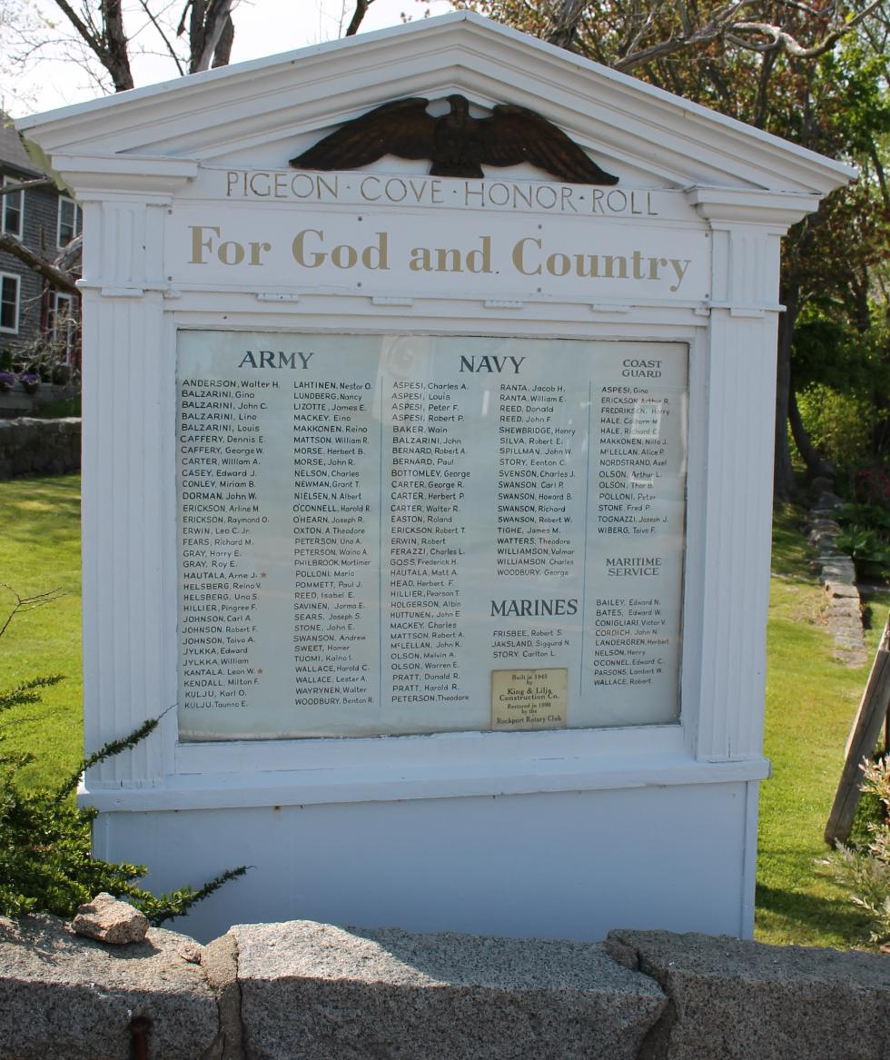 Pigeon Cove Massachusetts Veterans Honor Roll
