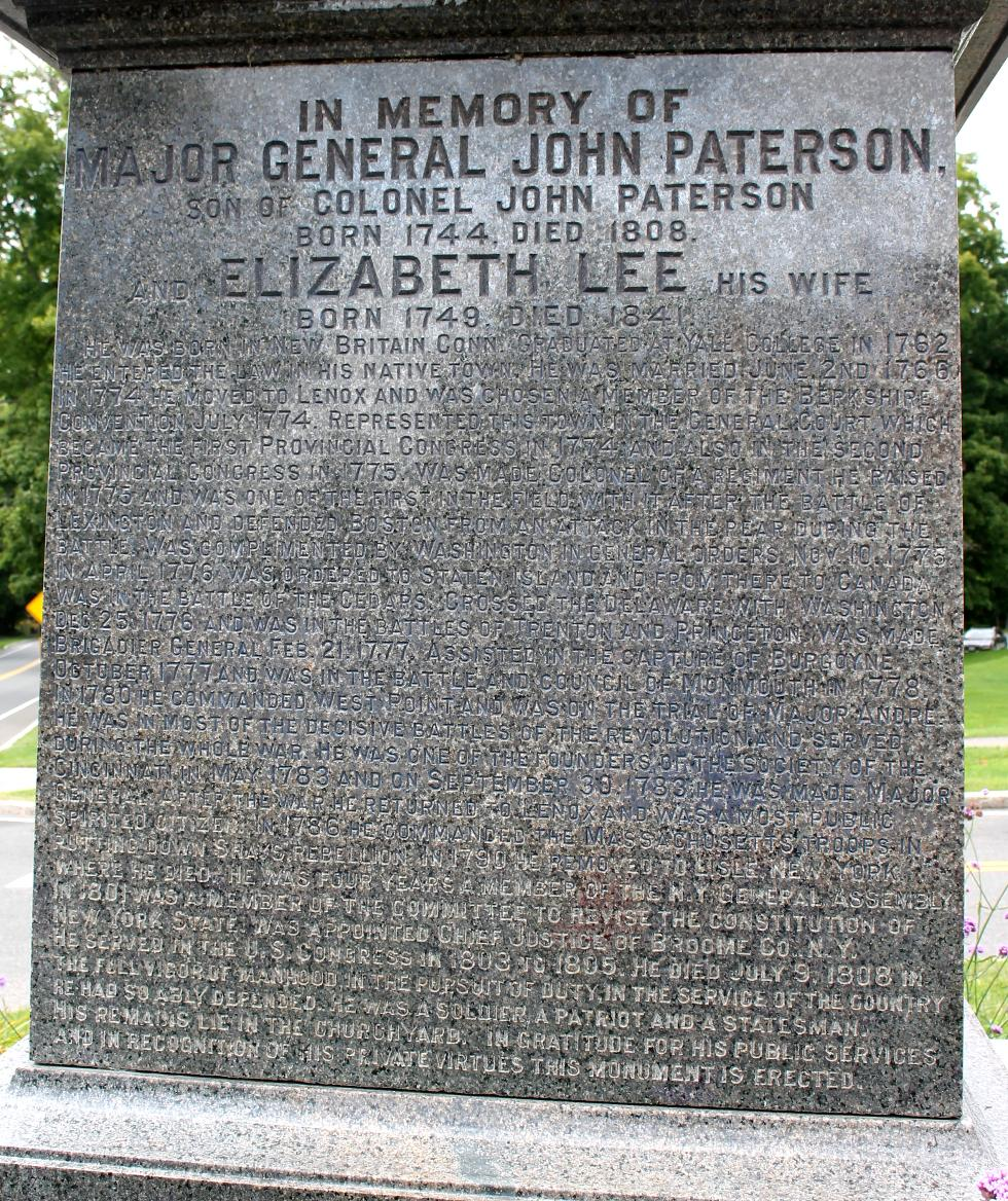 General John Paterson Memorial - Pittsfield Massachusetts