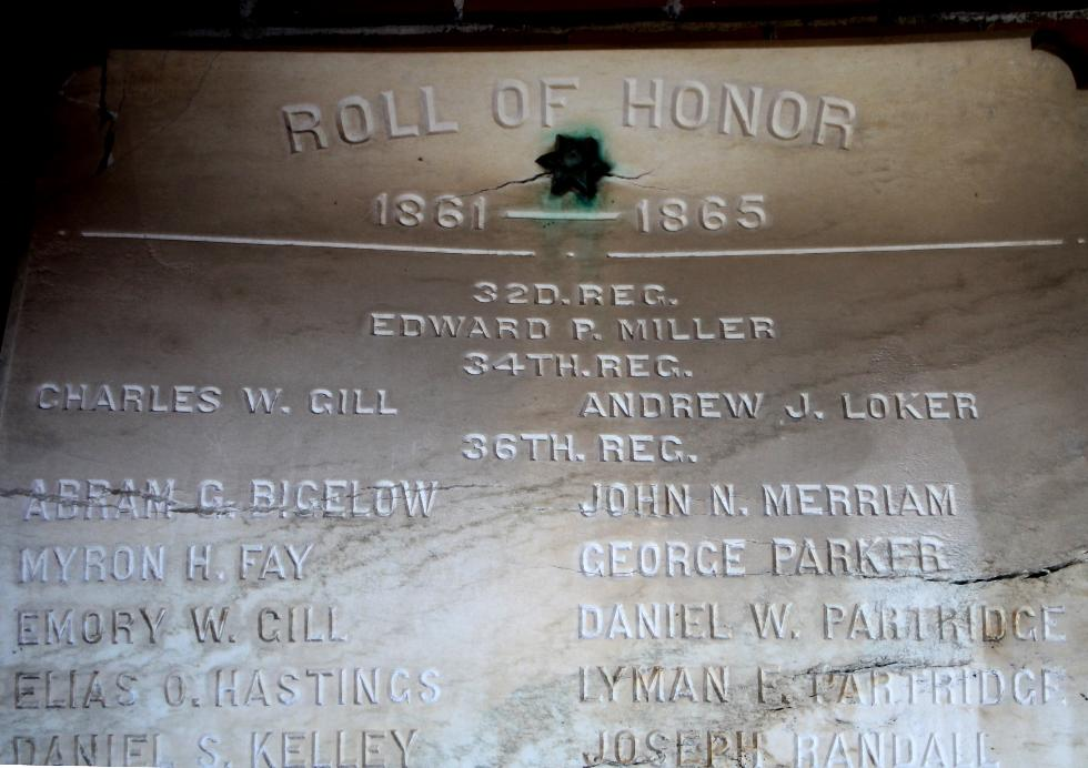 Princeton Massachusetts Civil War Veterans Honor Roll