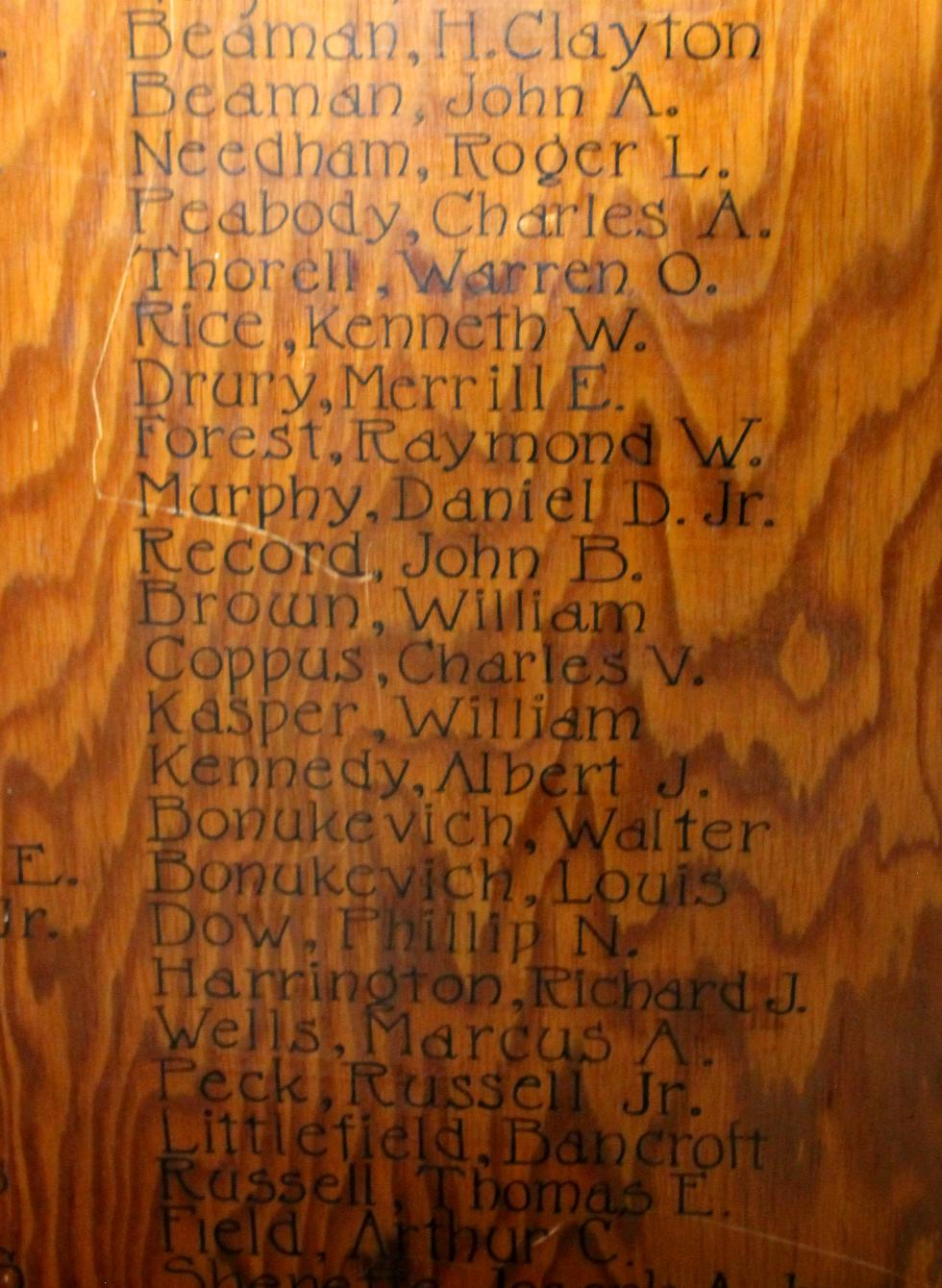 Princeton Massachusetts World War II Veterans Honor Roll