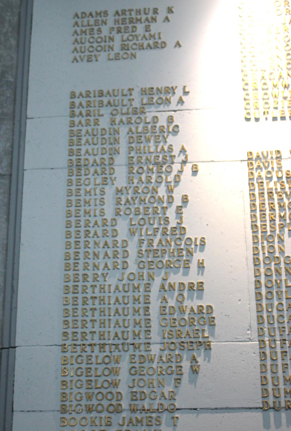 Spencer Massachusetts World War I Veterans Honor Roll