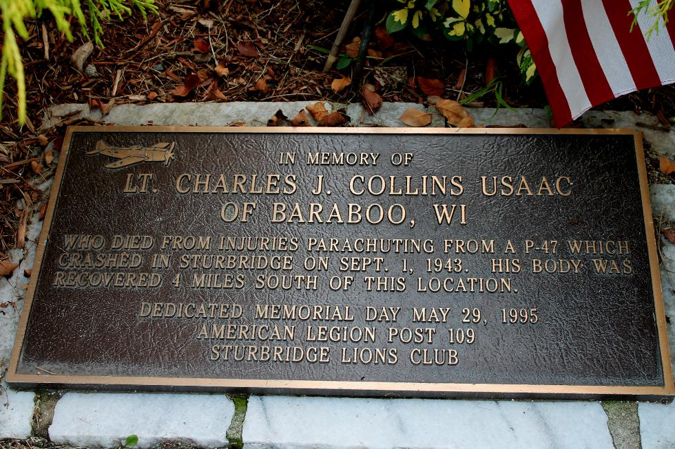 Sturbridge Mass - Charles J Collins - P-47 Accident Memorial