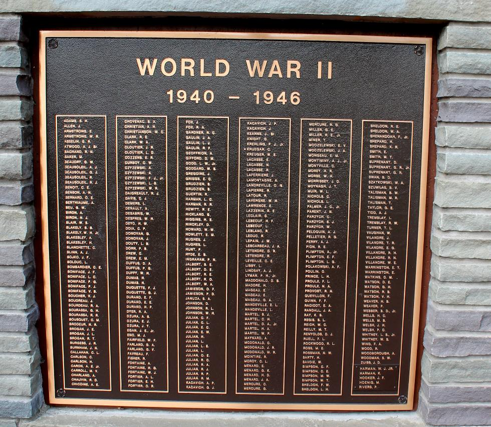 Sturbridge Massachusetts World War II Veterans Memorial