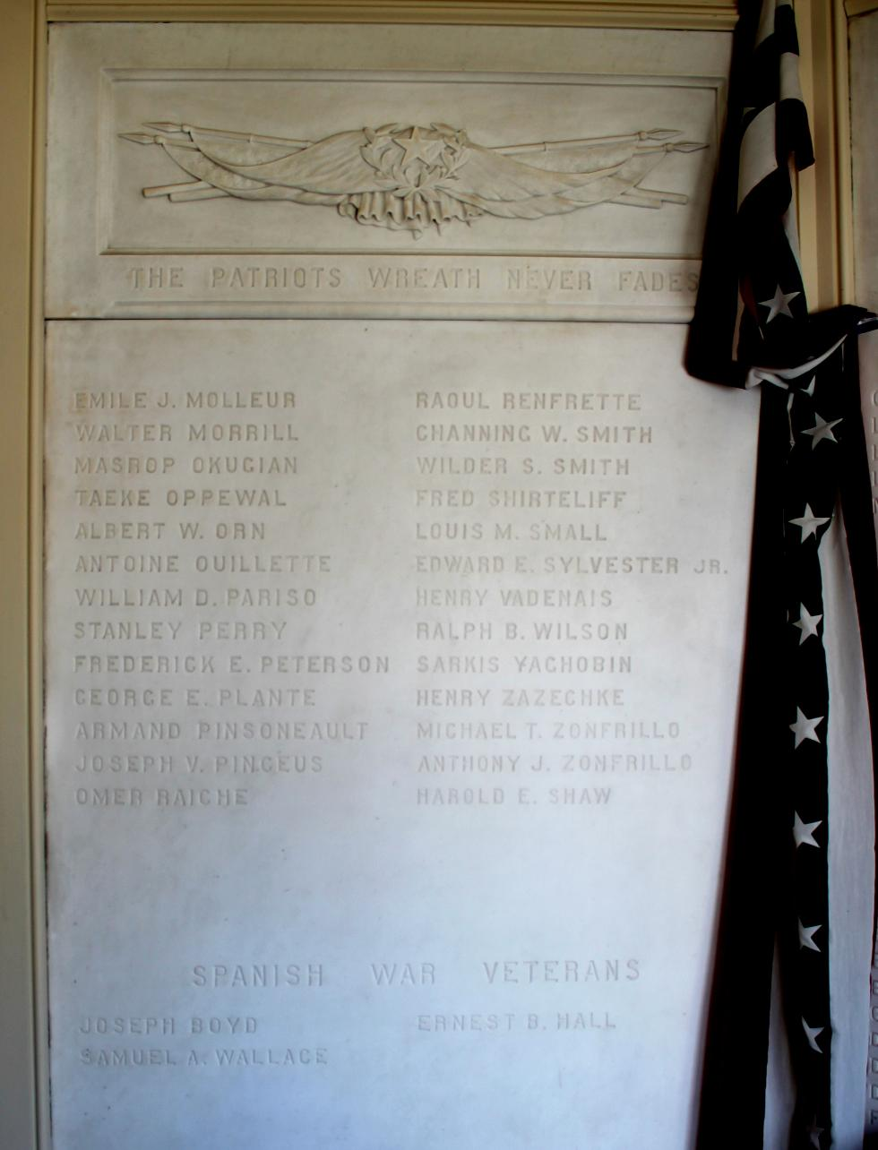 Sutton Massachusetts World War I Veterans Honor Roll