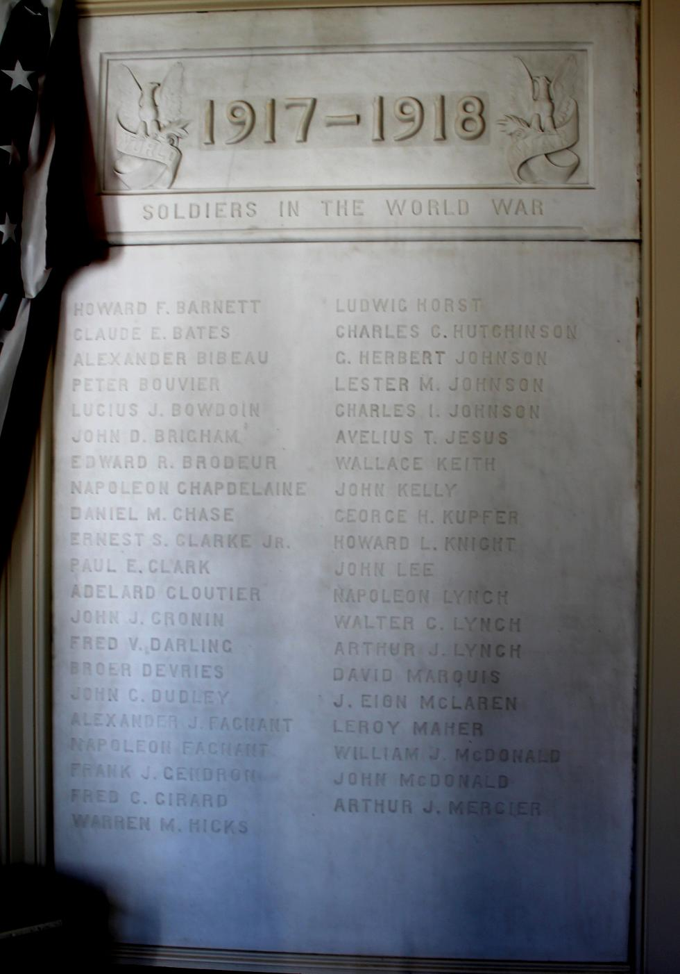 Sutton Massachusetts World War I Honor Roll