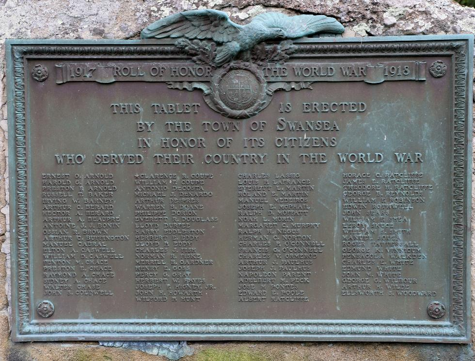 Swansea Mass Veterans Memorial Park - World War I Memorial