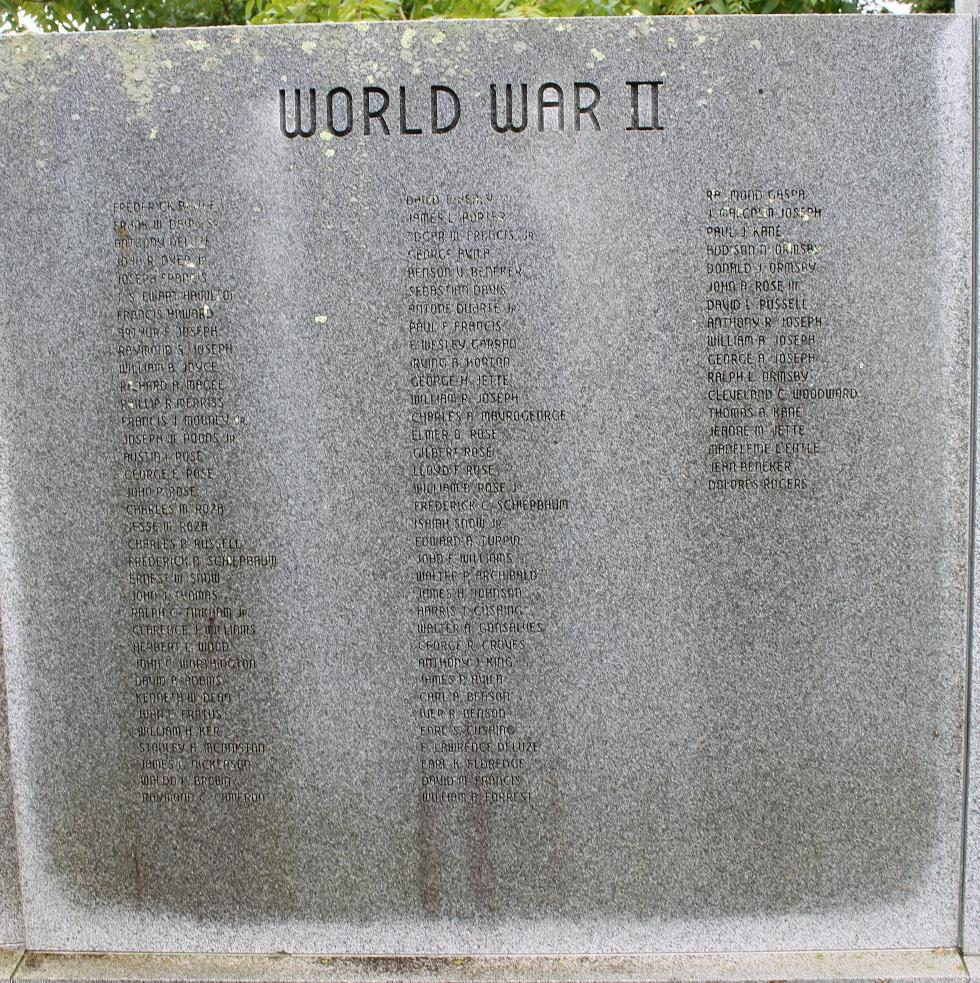 Truro Massachusetts Veterans Memorial World War II