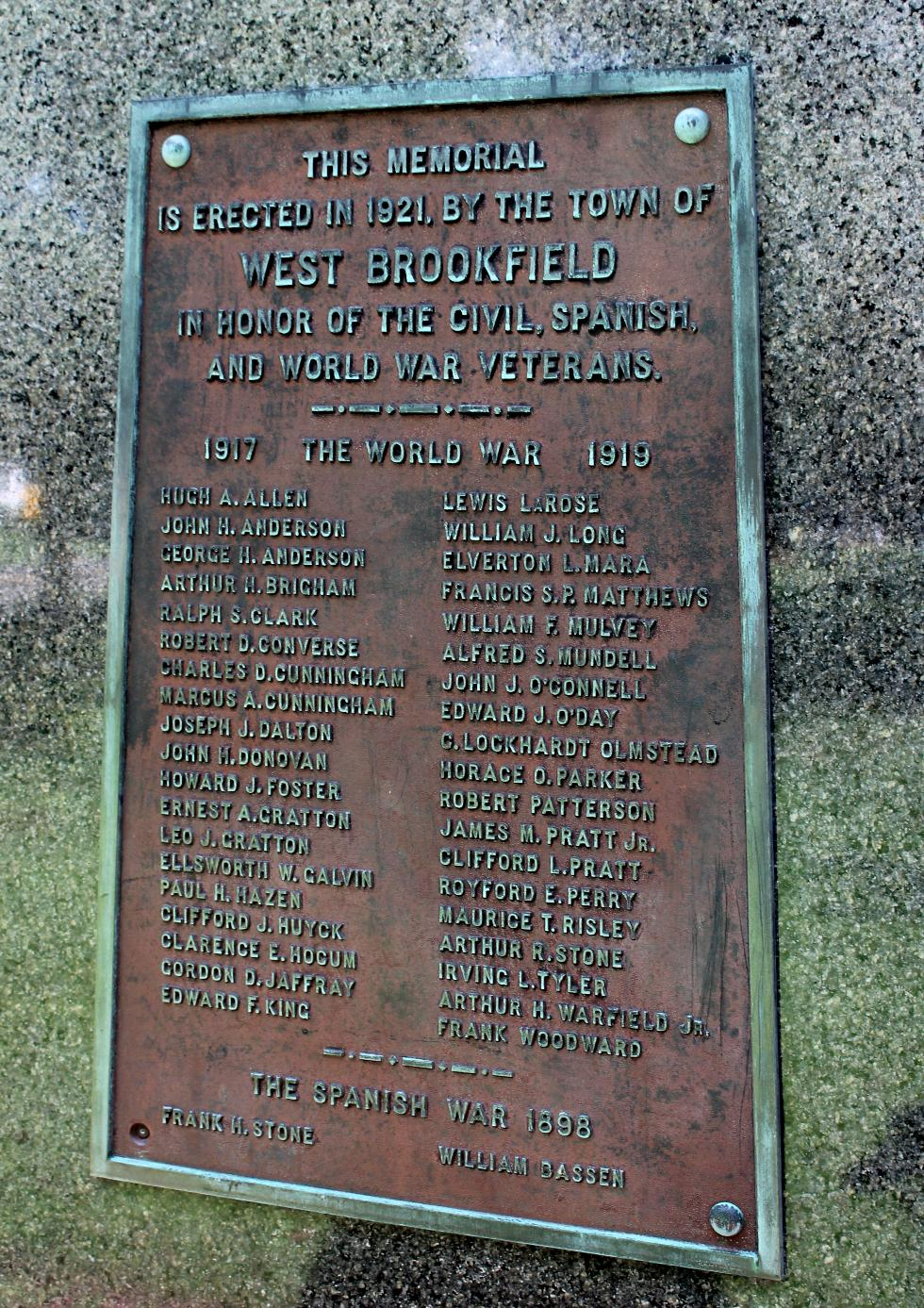 West Brookfield Massachusetts World War I Veterans Memorial