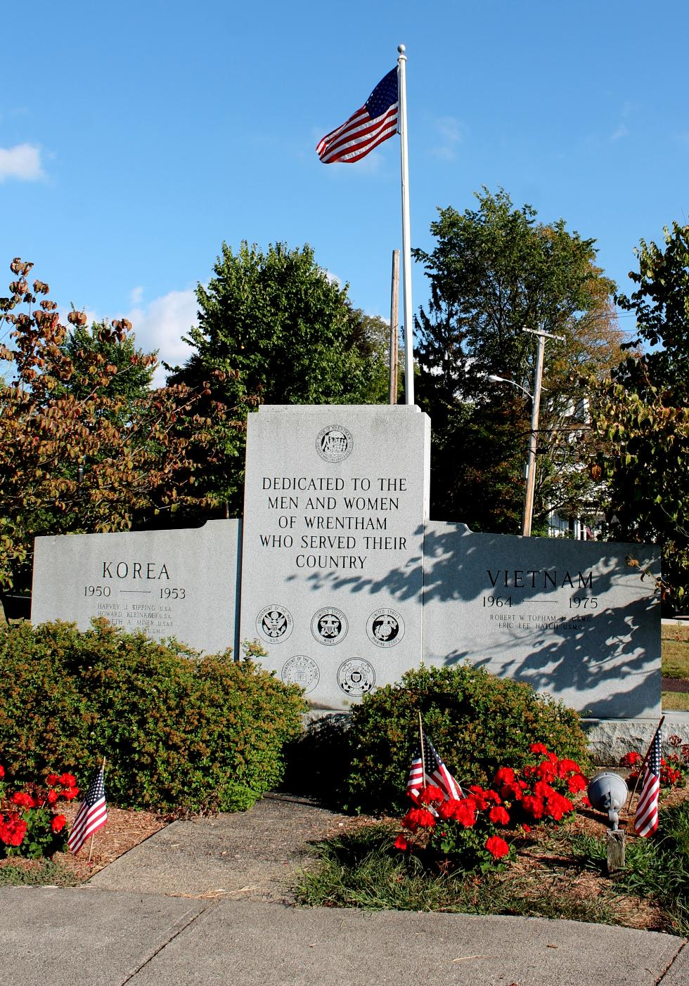 Wrentham Mass Korean War & Vietnam War Veterans Memorial