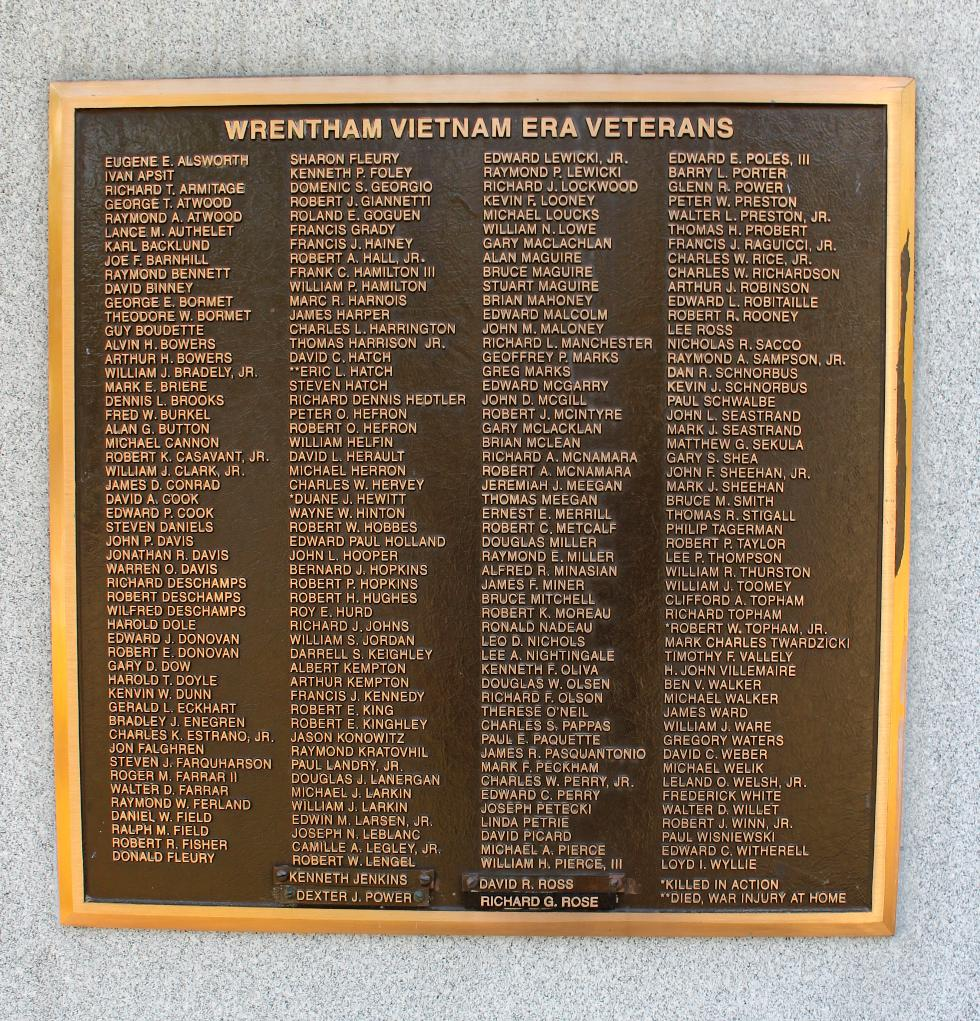 Wrentham Mass Vietnam War Veterans Memorial
